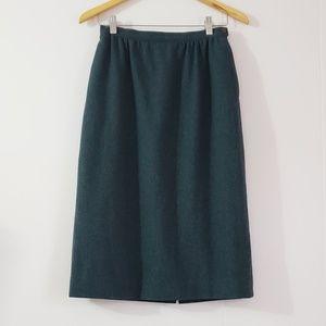 Pendleton Virgin Wool A-line Tweed Green Skirt
